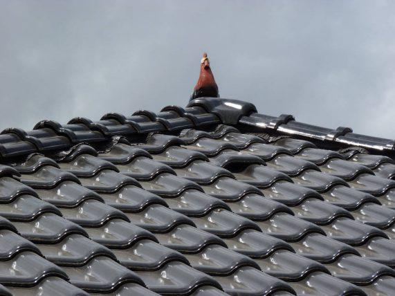 Keramická strešná krytina Röben monza plus maduro - realizácia strechy detail - keramický okrasný prvok kohút